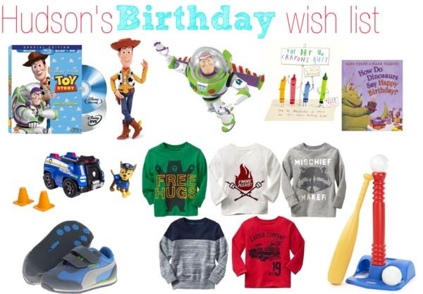 Hudson's birthday wish list