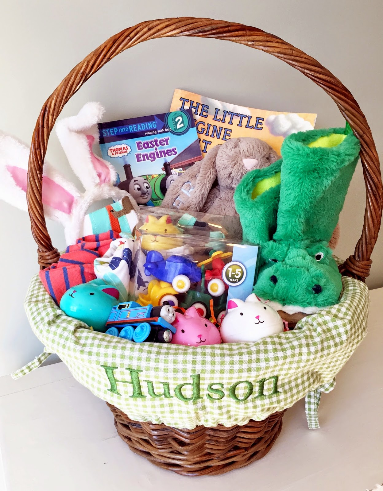Hudsons easter basket the girl in the red shoes and the little engine that could book and of course some cute bunny eggs from target filled with little surprises negle Gallery