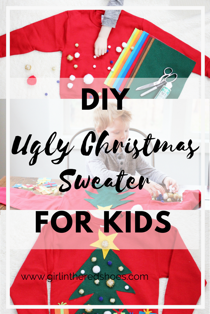 DIY Ugly Christmas Sweater For Kids · The Girl in the Red Shoes