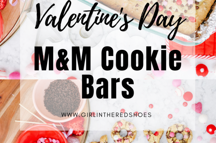 Valentine's Day M&M Cookie Bars